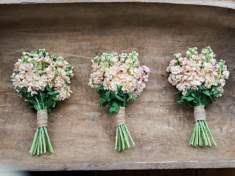 Peach Blush Pink Stocks Bridesmaid Bouquets Spring Pretty Home Made Pastel Floral Wedding http://www.stephanieswannweddings.co.uk/