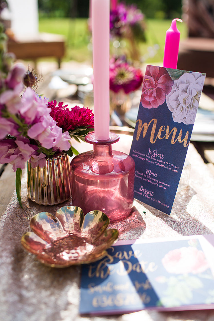 Navy Gold Stationery Rose Candle Flowers Sequin Alternative Colourful Boho Wedding Ideas http://www.binkynixon.com/