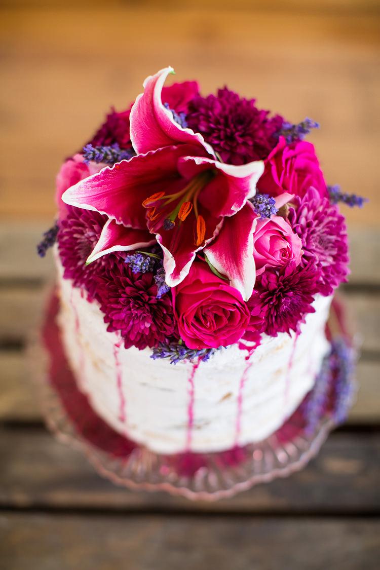 Pink Cake Flowers Icing Topper Alternative Colourful Boho Wedding Ideas http://www.binkynixon.com/