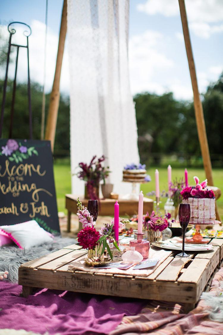 Wooden Pallet Table Decor Alternative Colourful Boho Wedding Ideas http://www.binkynixon.com/
