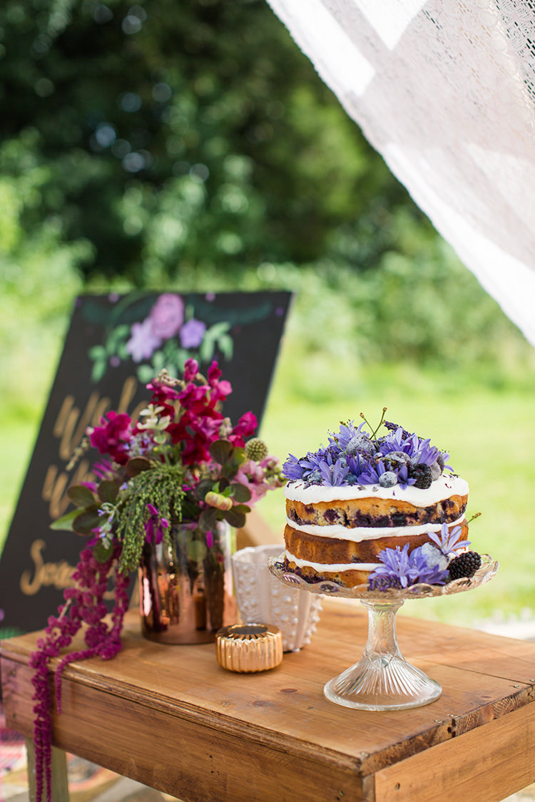 Naked Cake Layer Sponge Purple Flowers Table Alternative Colourful Boho Wedding Ideas http://www.binkynixon.com/