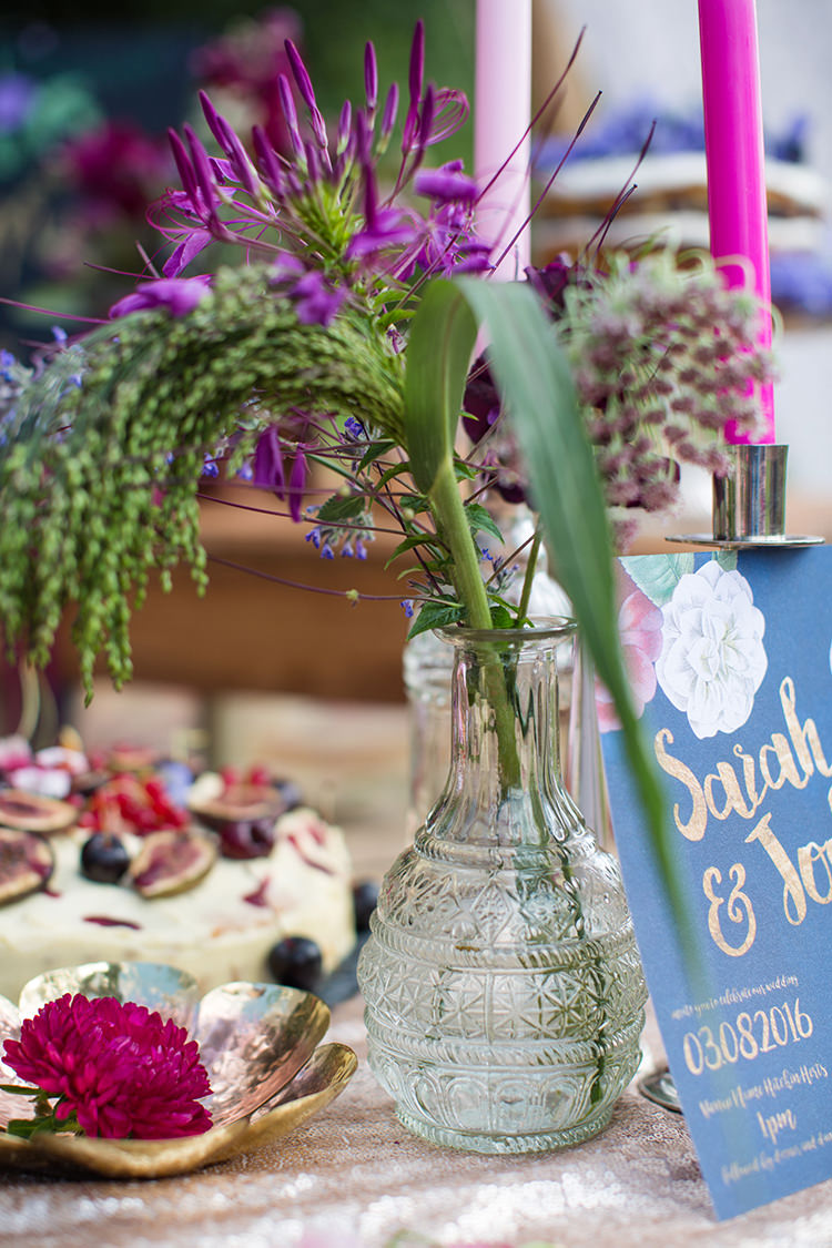Purple Vase Flowers Decor Alternative Colourful Boho Wedding Ideas http://www.binkynixon.com/