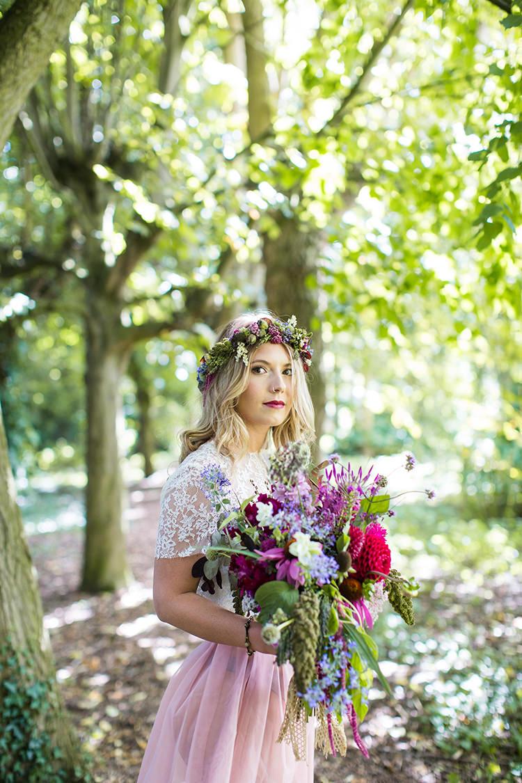 Bride Bridal Flowers Crown Bouquet Wild Whimsical Natural Alternative Colourful Boho Wedding Ideas http://www.binkynixon.com/