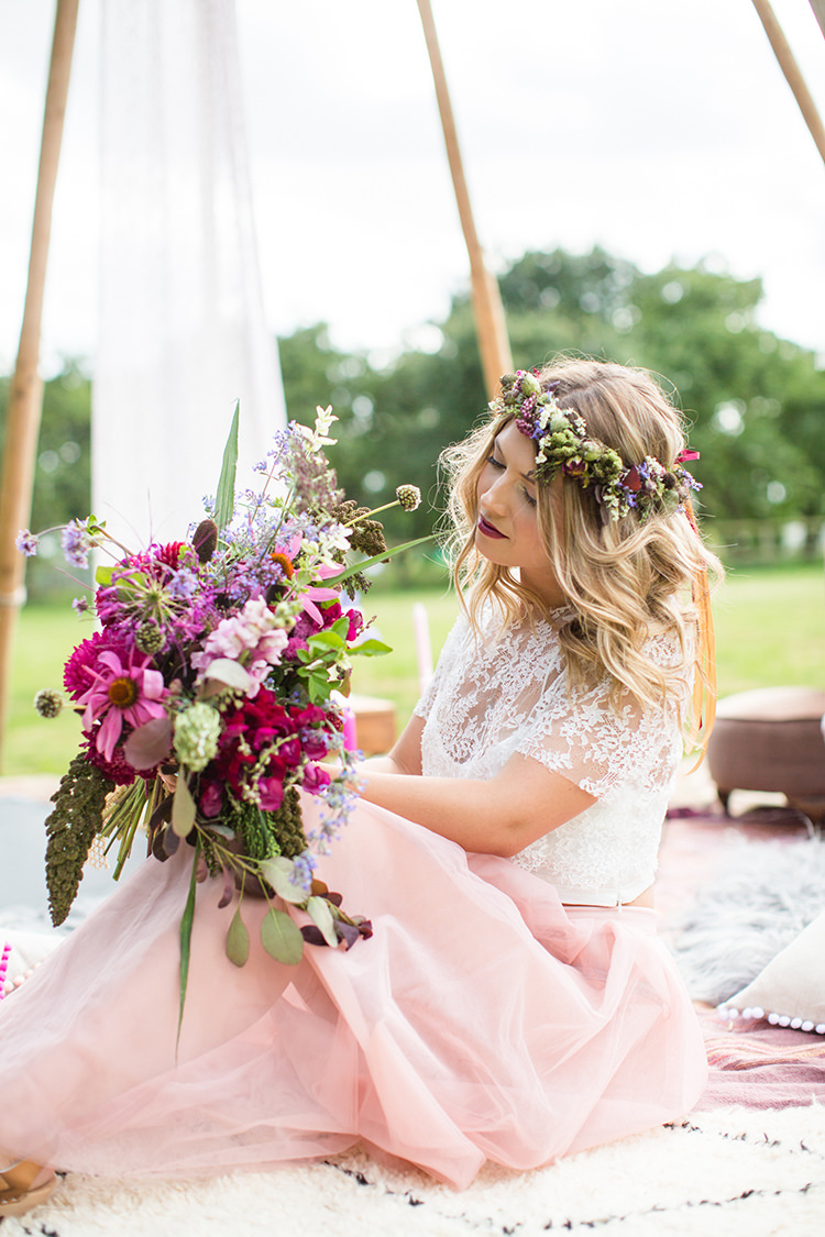 Bouquet Whimsical Flowers Bride Bridal Red Burgundy Alternative Colourful Boho Wedding Ideas http://www.binkynixon.com/