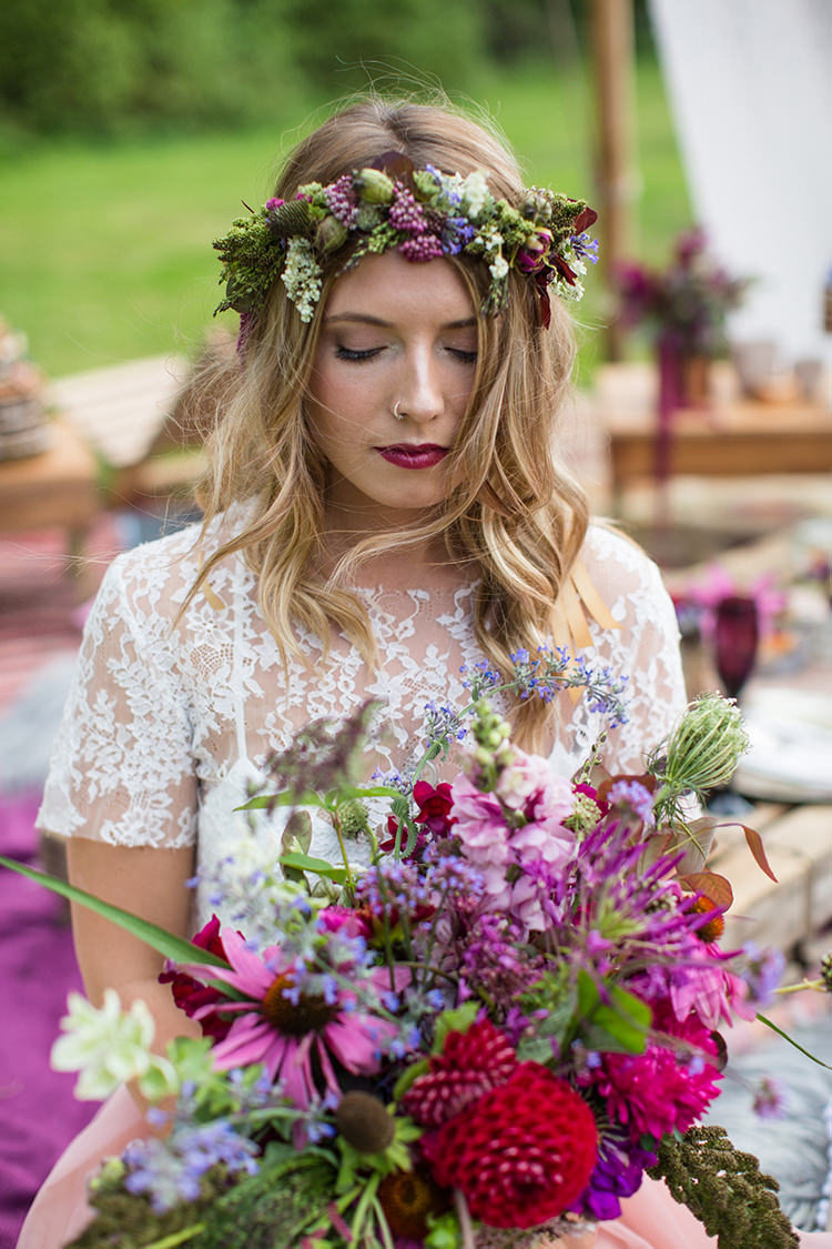 Bouquet Flowers Bride Bridal Autumn Red Burgundy Dahlia Flower Crown Make Up Alternative Colourful Boho Wedding Ideas http://www.binkynixon.com/