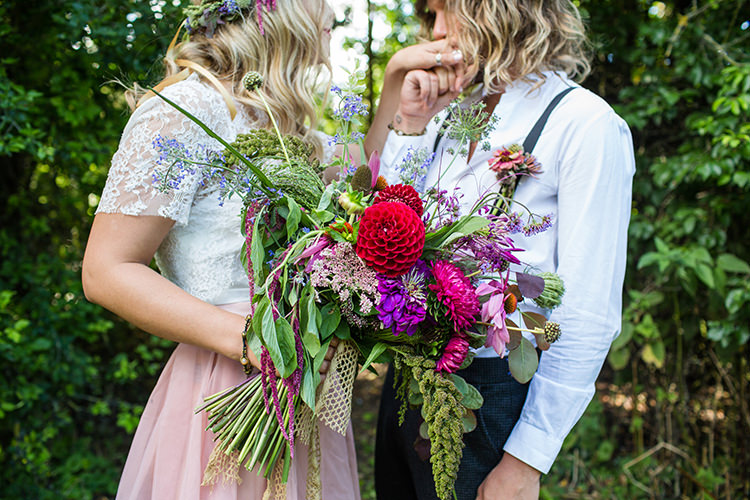 Bouquet Flowers Whimsical Large Autumn Red Purple Burgundy Bride Bridal Alternative Colourful Boho Wedding Ideas http://www.binkynixon.com/