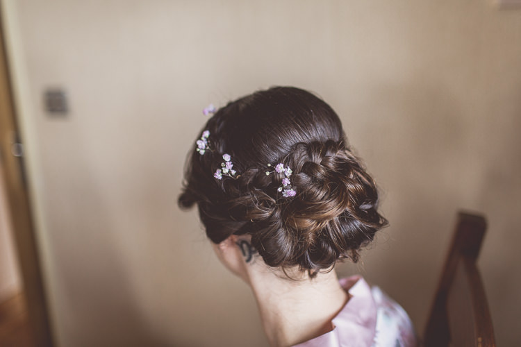Hair Style Up Do Bride Bridal Plaits Braids Flowers Relaxed Seaside St Ives Wedding http://www.wearetheclarkes.com/