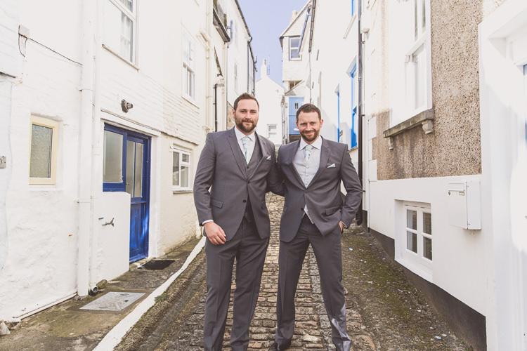 Grey Suit Green Tie Groom Groomsmen Relaxed Seaside St Ives Wedding http://www.wearetheclarkes.com/