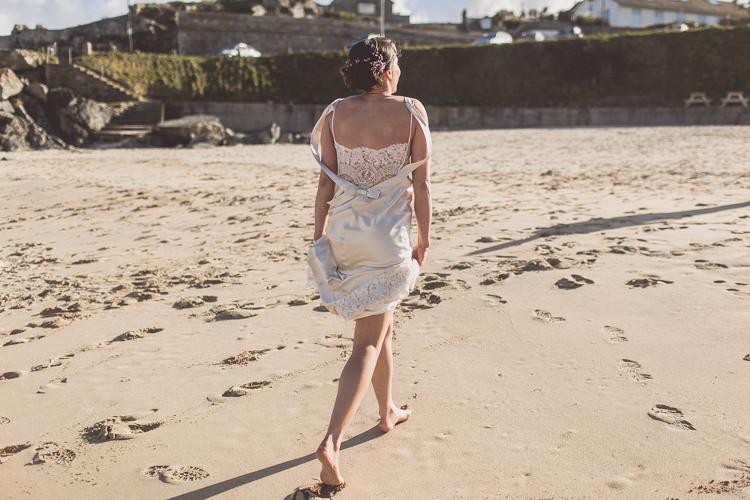 David Fielden Dress Gown Lace Satin Bow Bride Bridal Relaxed Seaside St Ives Wedding http://www.wearetheclarkes.com/