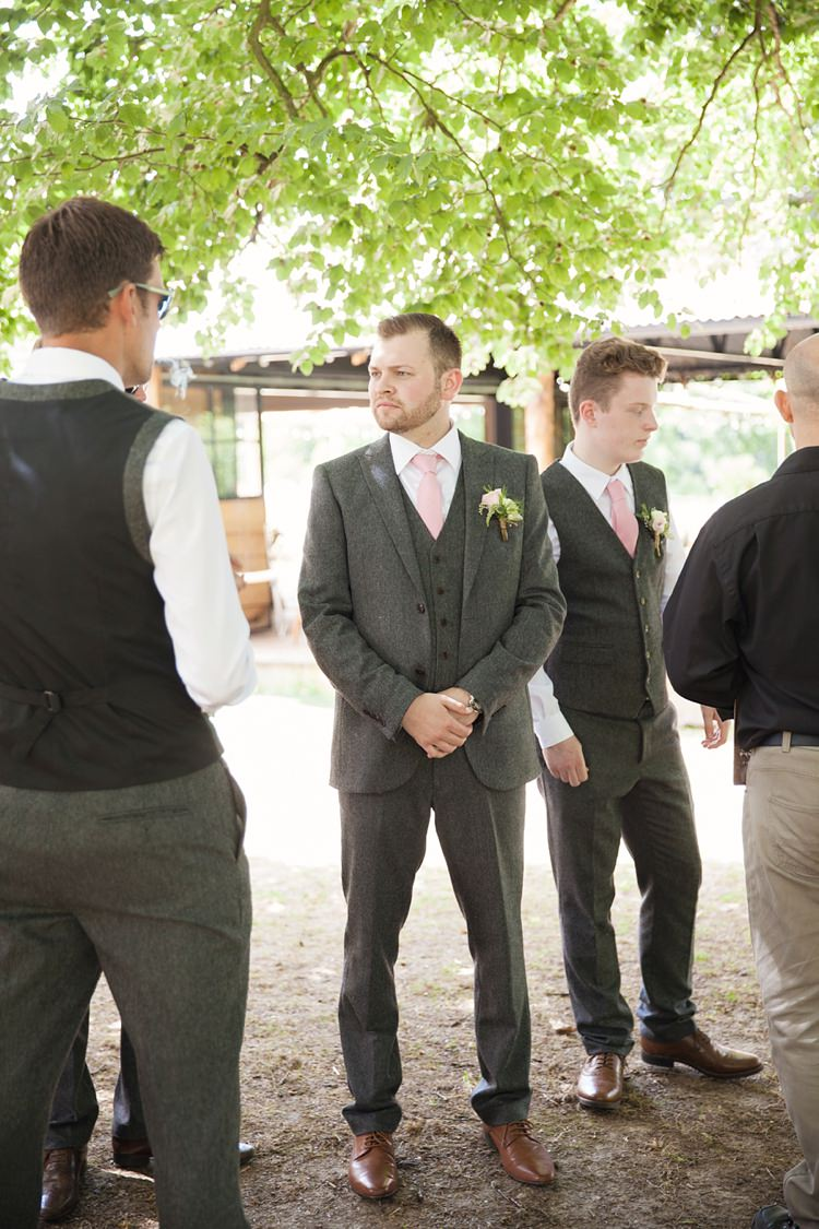 Grey Suit Groom Tie Pink Rustic Tipi Woodland Wedding http://kerryannduffy.com/
