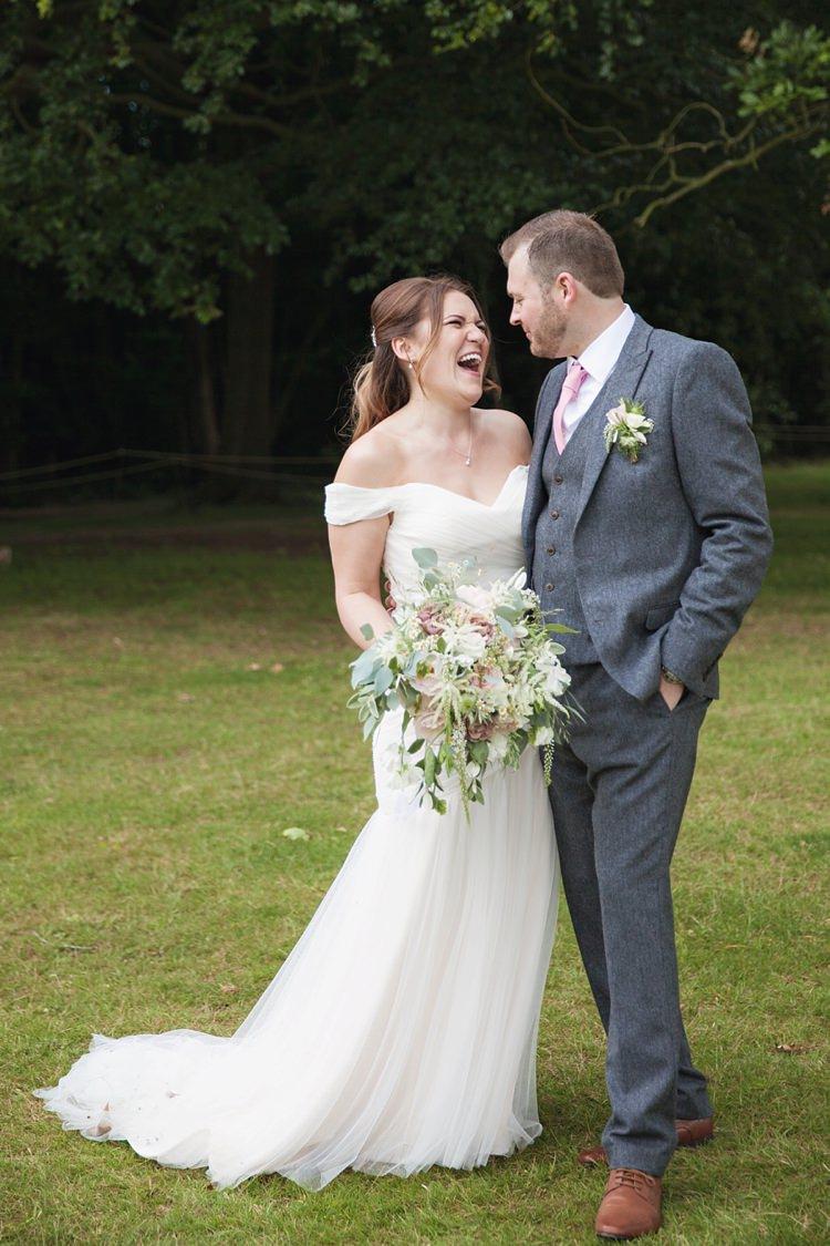 Off Shoulder Bardot Dress Gown Bride Bridal Pink Rustic Tipi Woodland Wedding http://kerryannduffy.com/