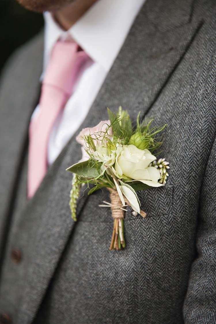 Buttonhole Groom Pink Rustic Tipi Woodland Wedding http://kerryannduffy.com/