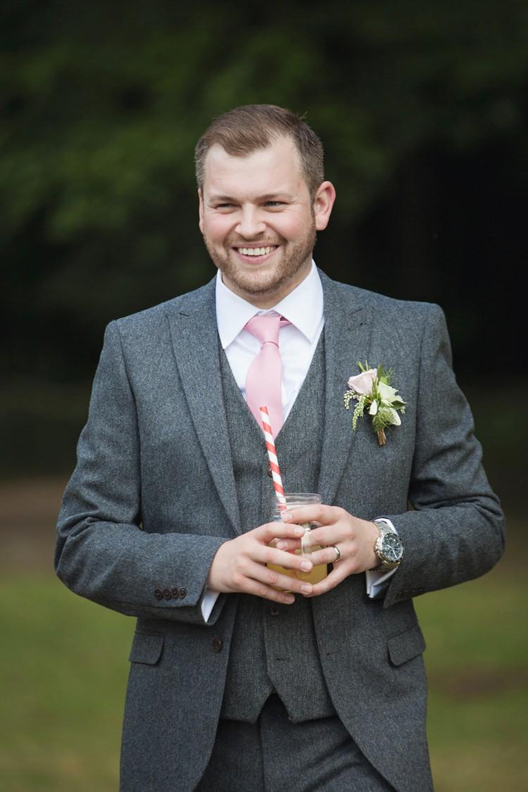 Grey Suit Groom Next Pink Rustic Tipi Woodland Wedding http://kerryannduffy.com/