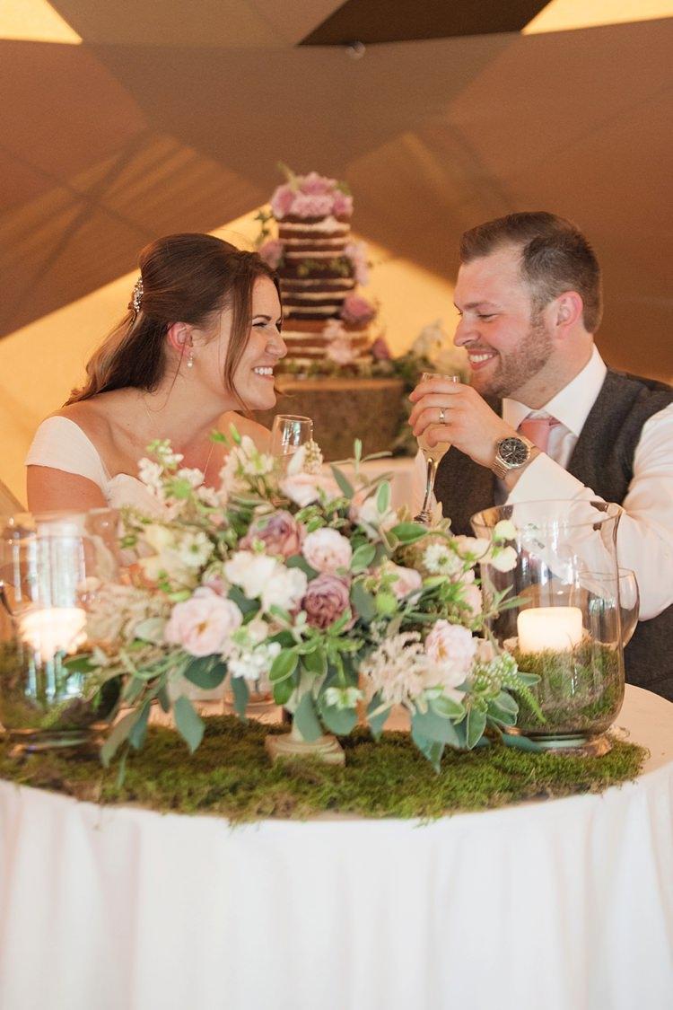 Sweetheart Table Bride Groom Pink Rustic Tipi Woodland Wedding http://kerryannduffy.com/