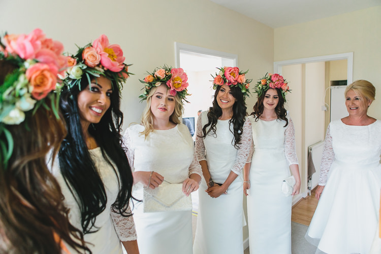 Coral Peony Peonies Flower Crowns Bridesmaids Outdoorsy Colourful Tipi Wedding http://www.tierneyphotography.co.uk/