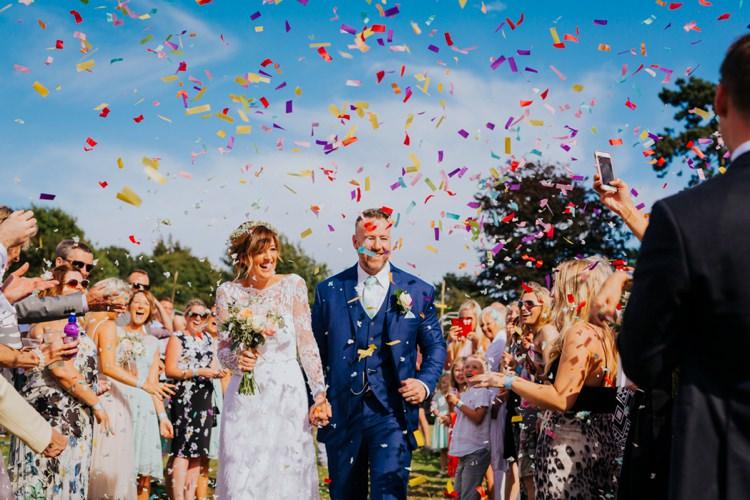 Confetti Throw Bride Groom Colourful Creative Festival Wedding http://benjaminstuart.co.uk/