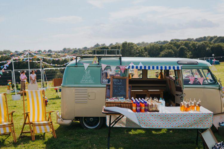 VW Camper Bar Drinks Station Creative Festival Wedding http://benjaminstuart.co.uk/