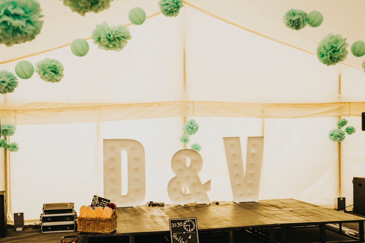 Letter Lights Initials Creative Festival Wedding http://benjaminstuart.co.uk/