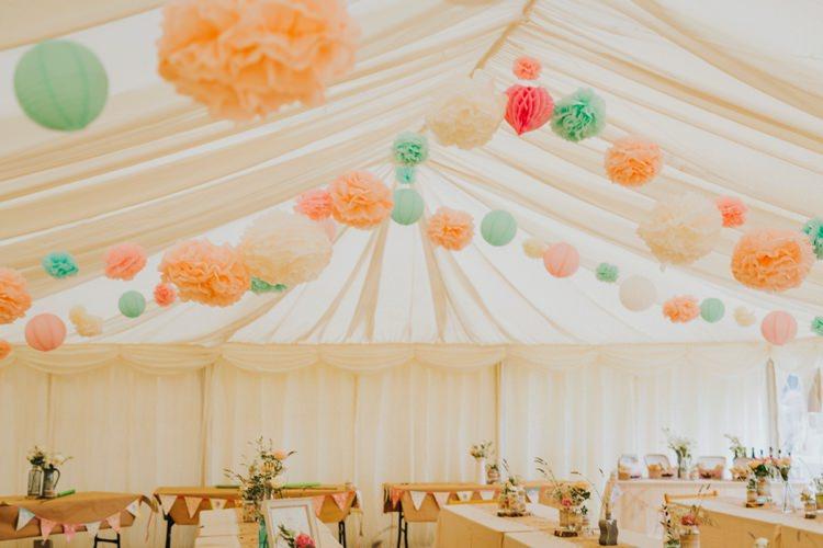 Peach Mint Pom Poms Marquee Creative Festival Wedding http://benjaminstuart.co.uk/