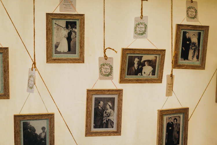 Hanging Family Photographs Creative Festival Wedding http://benjaminstuart.co.uk/