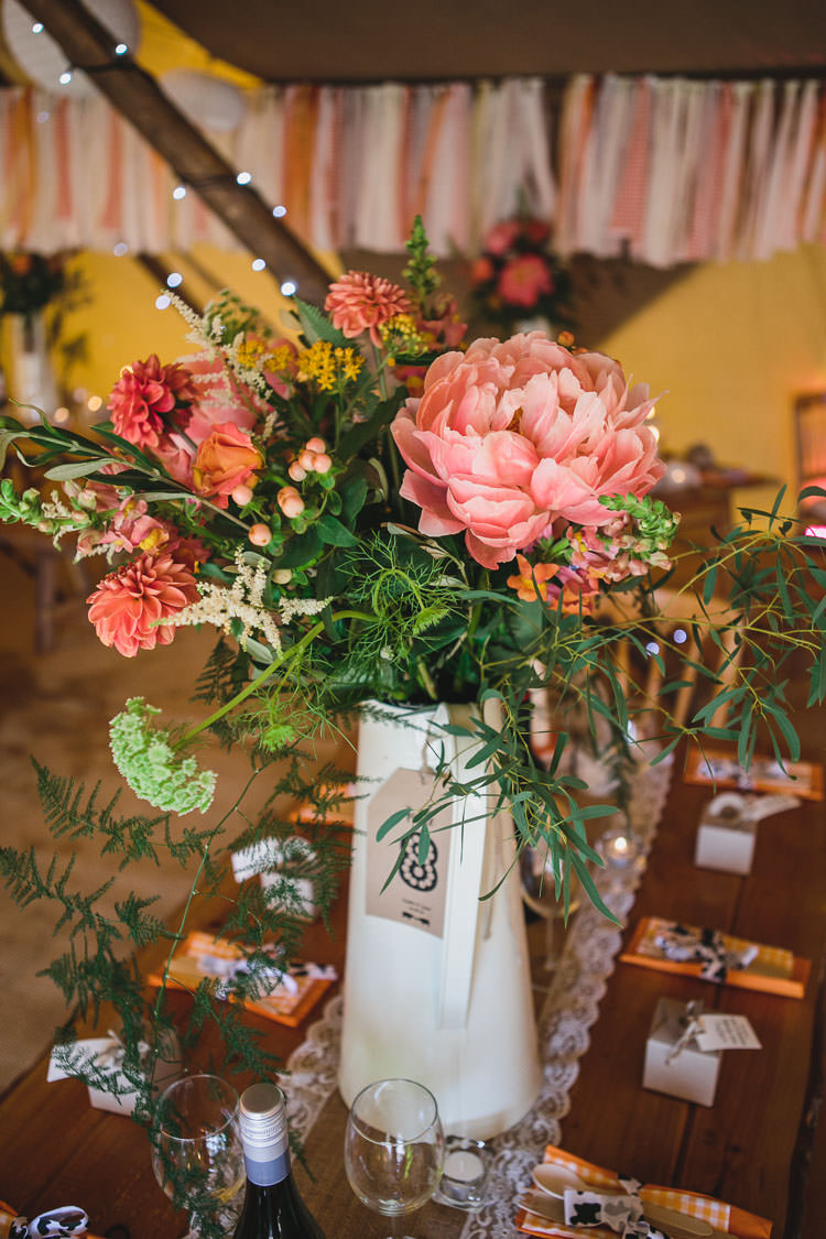 Coral Peony Peonies Dahlias Jug Flowers Decor Centrepiece Outdoorsy Colourful Tipi Wedding http://www.tierneyphotography.co.uk/