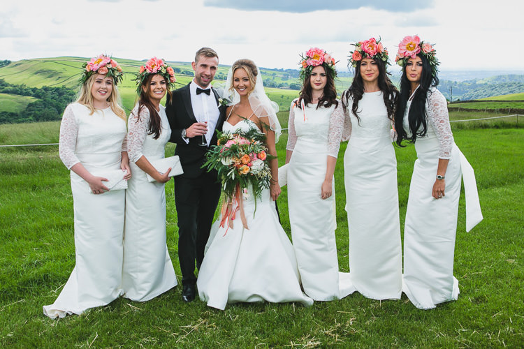 White Bridesmaid Dresses Coral Peony Flower Crowns Outdoorsy Colourful Tipi Wedding http://www.tierneyphotography.co.uk/