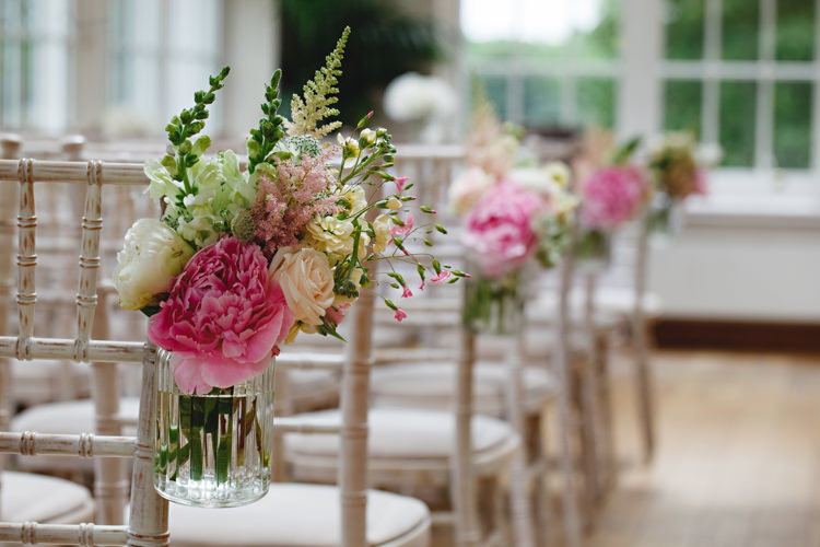 Flowers Chairs Pink Aisle Ceremony Jars Decor Peonies & Bikes Fun Country House Wedding http://hbaphotography.com/