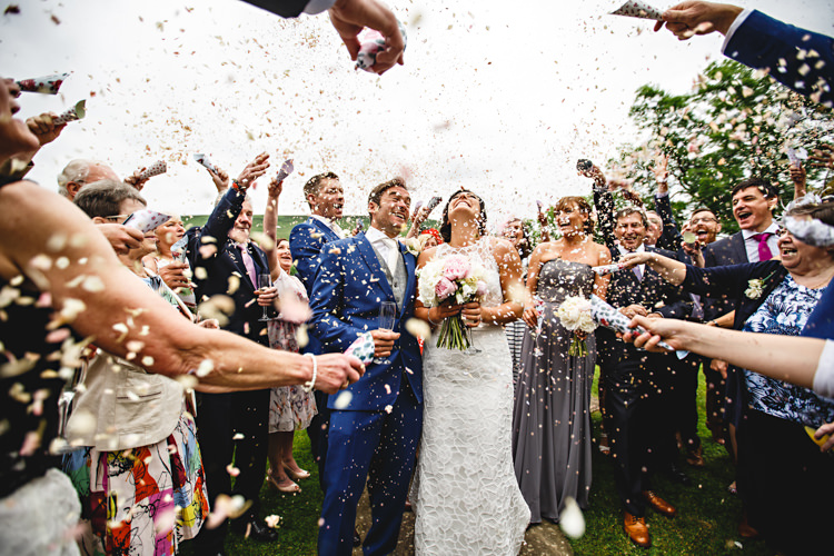 Confetti Throw Peonies & Bikes Fun Country House Wedding http://hbaphotography.com/