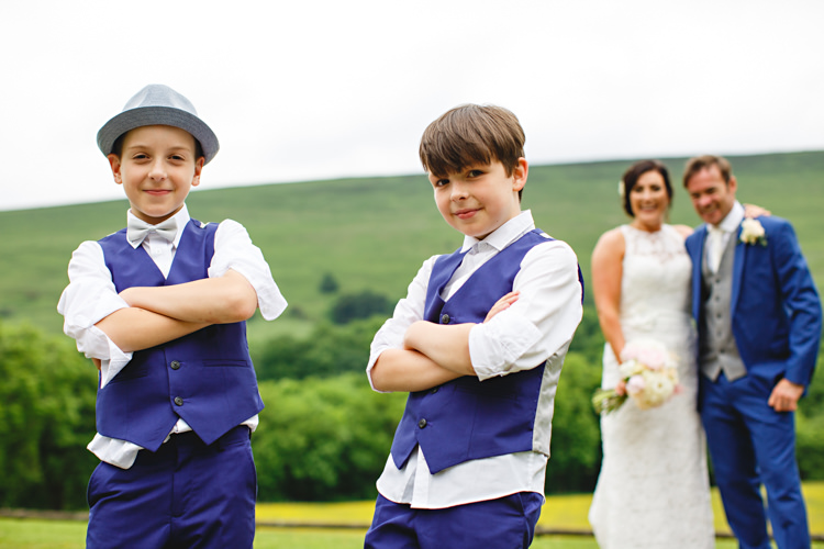 Page Boys Blue Waistcoats Bow Ties Peonies & Bikes Fun Country House Wedding http://hbaphotography.com/