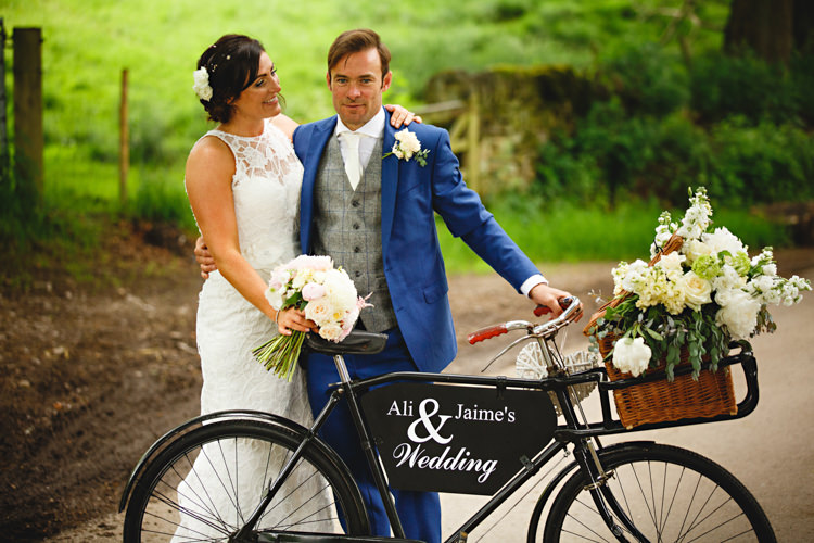 Bicycle Flowers Basket Decor Peonies & Bikes Fun Country House Wedding http://hbaphotography.com/
