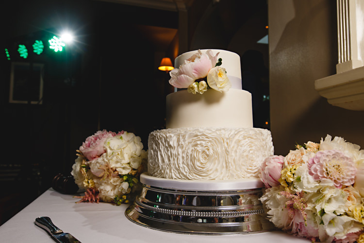 Floral Cake Ruffle White Icing Peonies & Bikes Fun Country House Wedding http://hbaphotography.com/