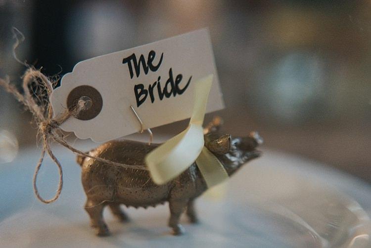 Luggage Tag Place Name Toy Animal Pig City Farm Yellow Blue Wedding http://www.baiandelle.com/