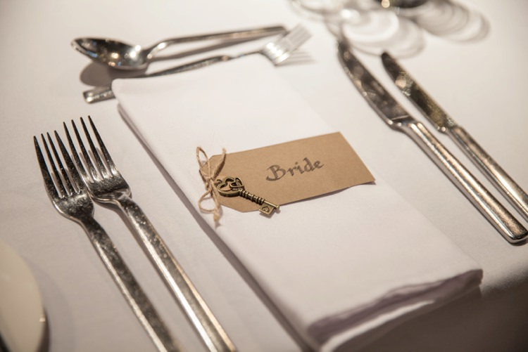 Luggage Tag Key Place Name Setting Cosy Winter Barn Wedding http://kerryannduffy.com/