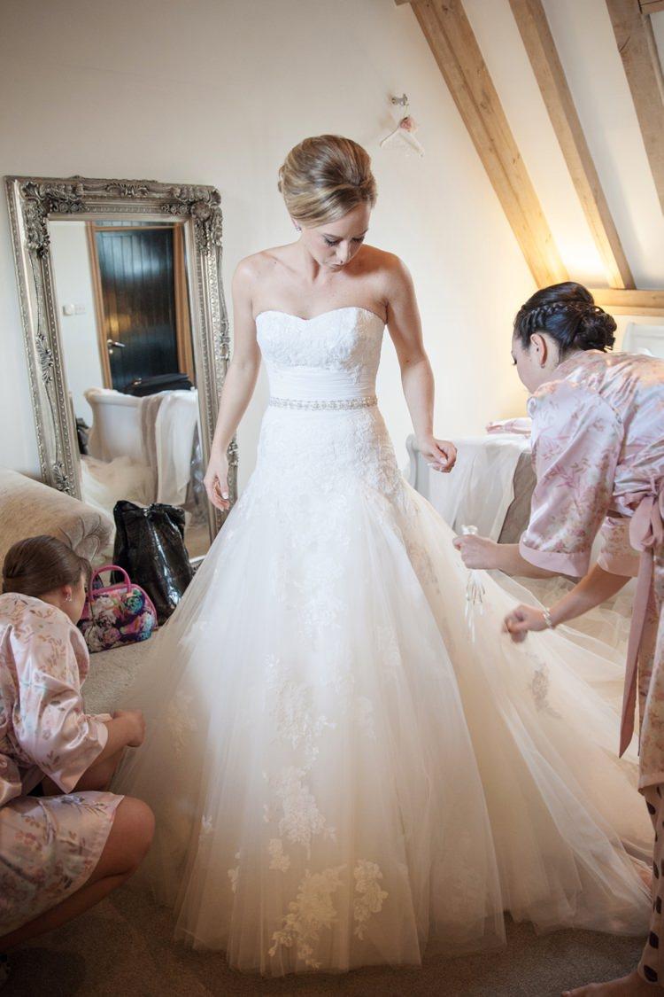 Strapless Lace Tulle Gown Dress Bride Bridal Enzoani Dabra Cosy Winter Barn Wedding http://kerryannduffy.com/