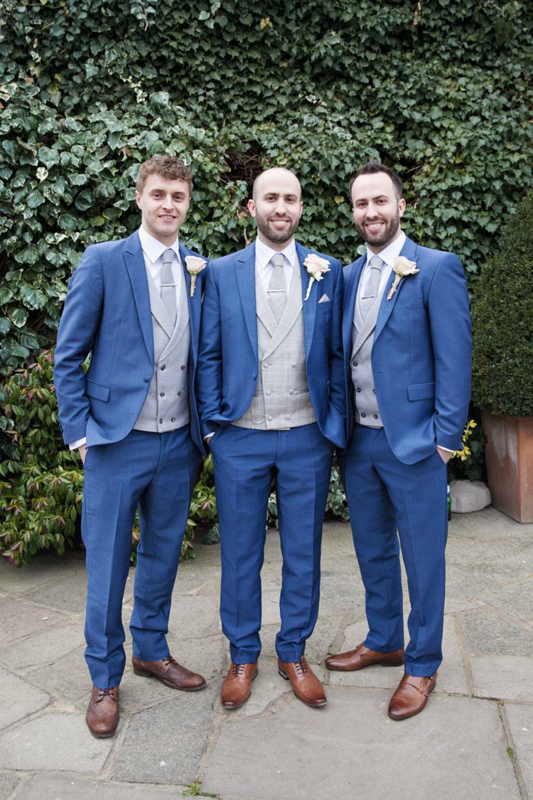 Blue Suit Tan Shoes Grey Waistcoat Groom Groomsmen Cosy Winter Barn Wedding http://kerryannduffy.com/