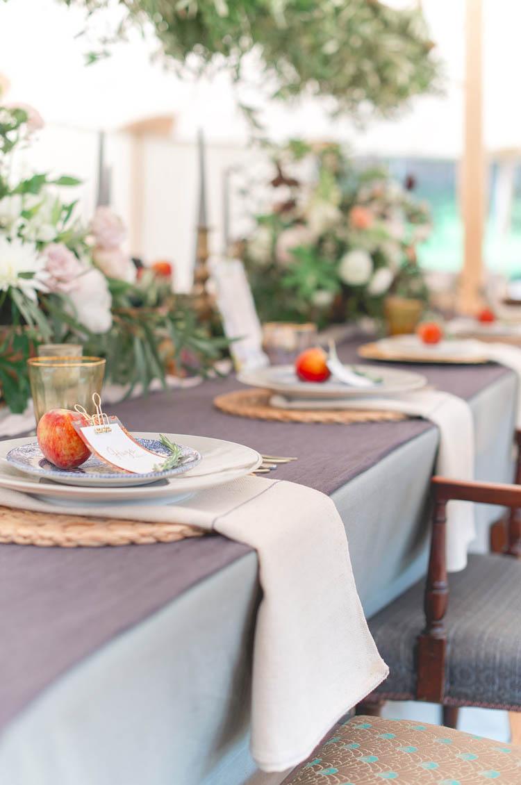 Purple Blue Table Decor Apple Place Setting Beautiful Classic Luxe Wedding Ideas https://divinedayphotography.com/