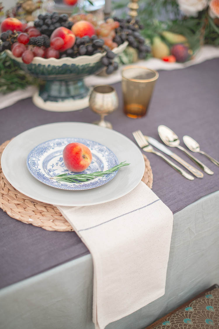 Fruit Place Setting Apple Peach Beautiful Classic Luxe Wedding Ideas https://divinedayphotography.com/