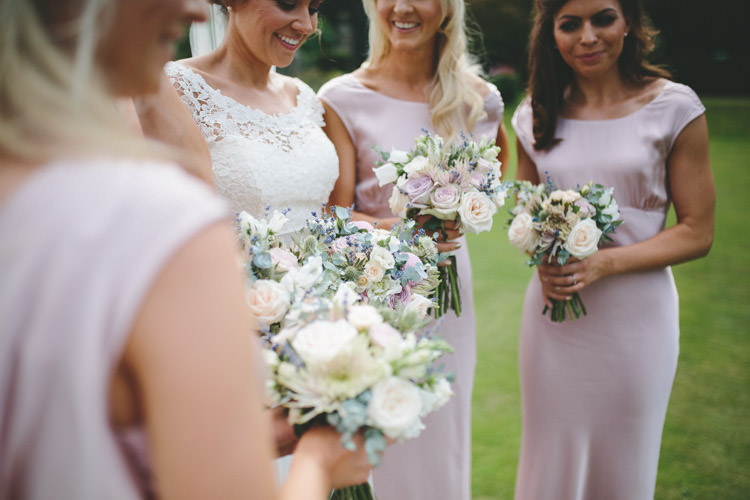 Bouquets Bride Bridesmaid Flowers Pale Cream Classic Pink English Country Garden Wedding http://www.elliegracephotography.co.uk/