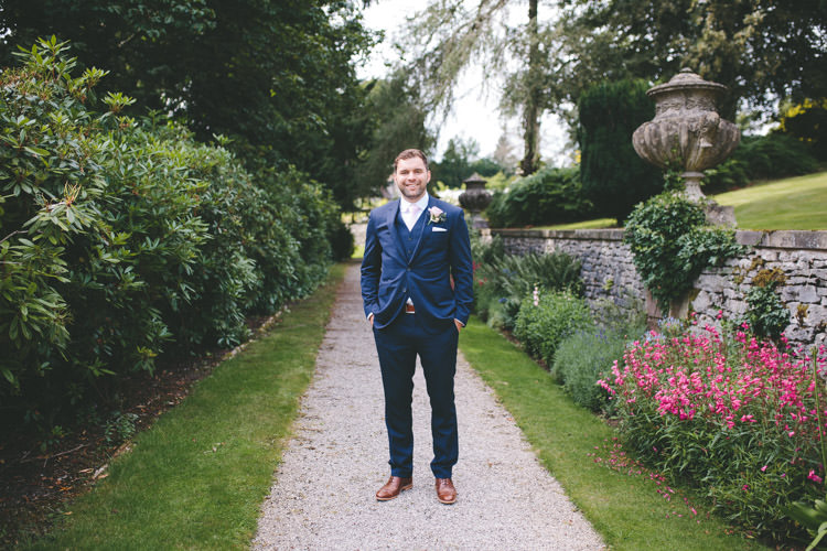 Navy Suit Groom Classic Pink English Country Garden Wedding http://www.elliegracephotography.co.uk/