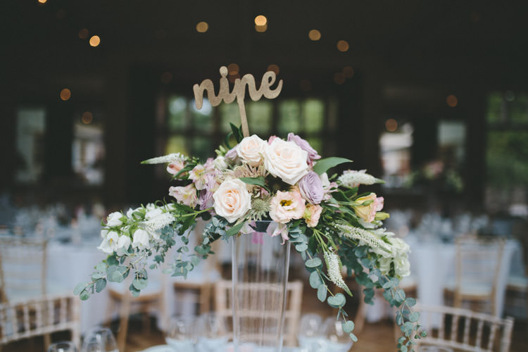 Flower Arrangement Tall Gold Table Number Classic Pink English Country Garden Wedding http://www.elliegracephotography.co.uk/