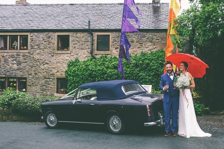 Classic Car Home Made Glastonbury Festival Wedding http://www.emmaboileau.co.uk/