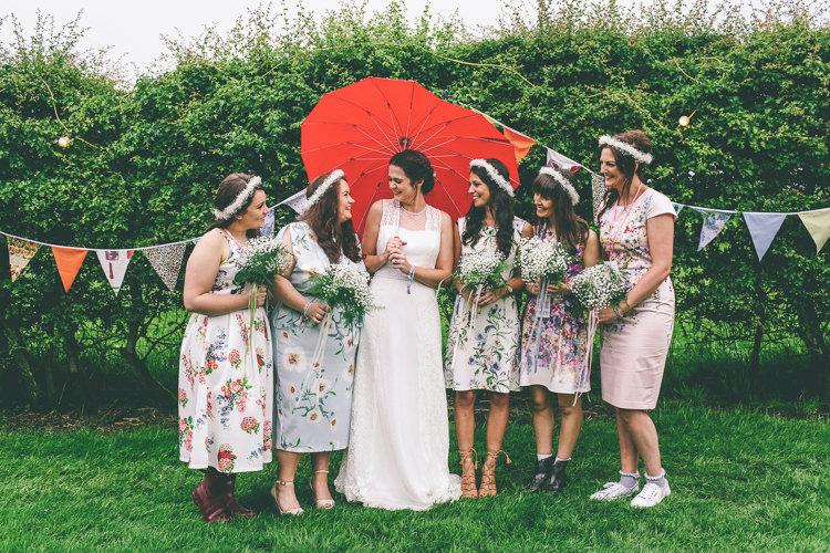 Mismatched Floral Bridesmaid Dresses Home Made Glastonbury Festival Wedding http://www.emmaboileau.co.uk/