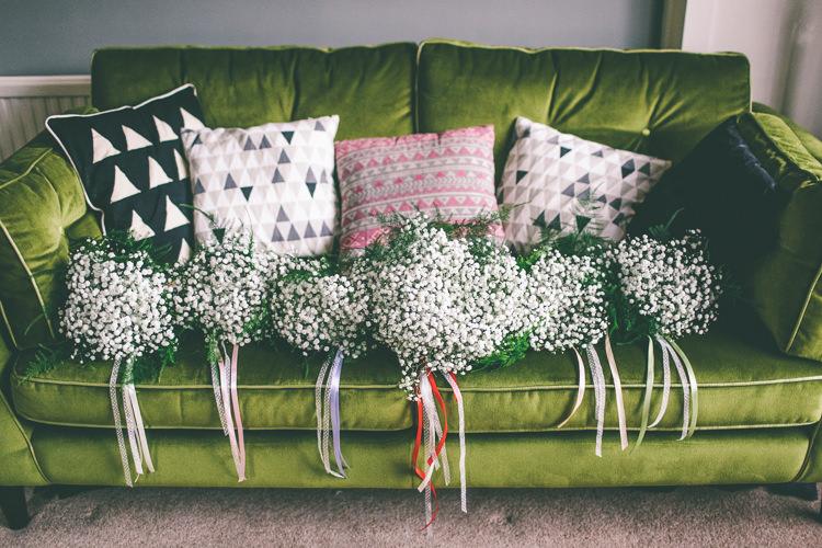 Gyp Baby Breath Gypsophila Bouquets Flowers Bridesmaids Home Made Glastonbury Festival Wedding http://www.emmaboileau.co.uk/