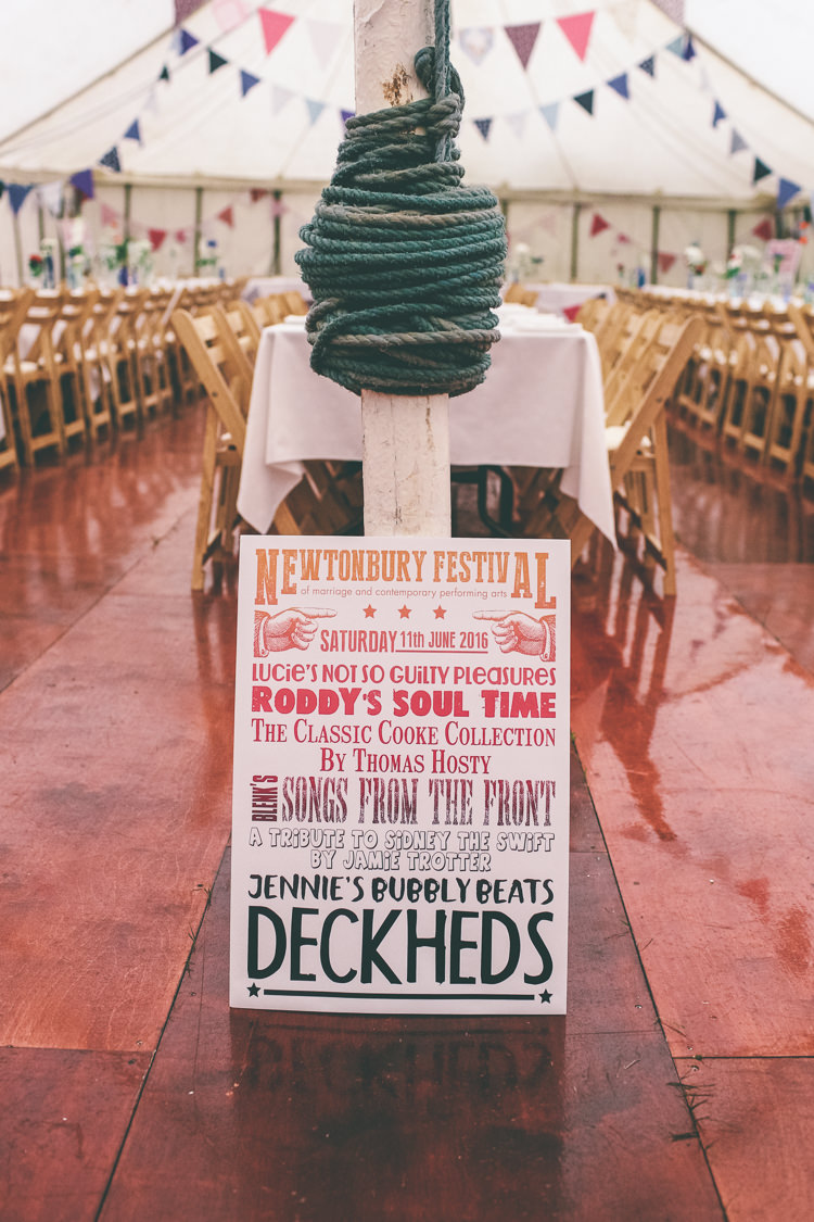 Bold Graphic Sign Home Made Glastonbury Festival Wedding http://www.emmaboileau.co.uk/