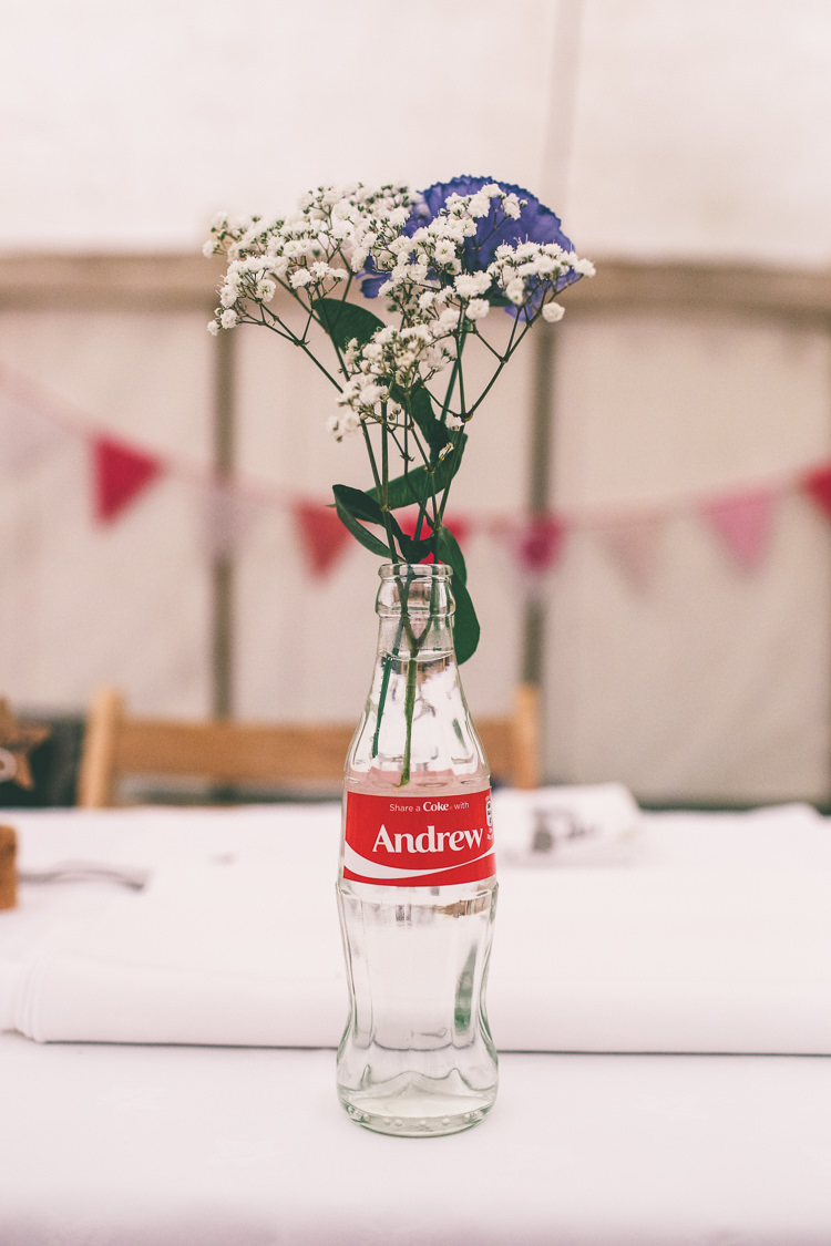 Personalised Coke Coca Cola Bottle Flowers Home Made Glastonbury Festival Wedding http://www.emmaboileau.co.uk/