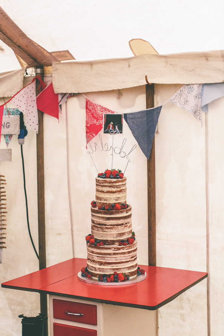 Naked Cake Sponge Layer Fruit Berries Wire Topper Home Made Glastonbury Festival Wedding http://www.emmaboileau.co.uk/
