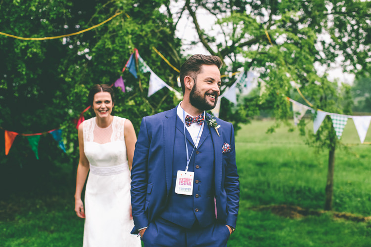 Bow Tie Groom Blue Suit Home Made Glastonbury Festival Wedding http://www.emmaboileau.co.uk/