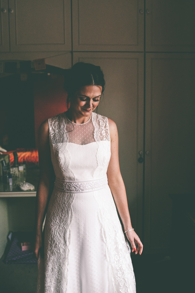 Rembo Styling Dress Gown Bride Bridal Polka Dot Tulle Lace Home Made Glastonbury Festival Wedding http://www.emmaboileau.co.uk/