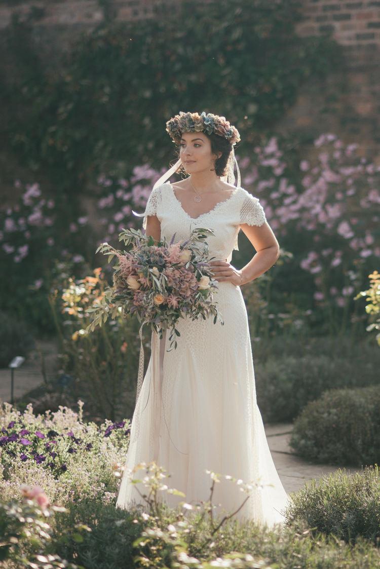 Long Dress Gown Cap Sleeves Bride Bridal Fine Art Boho Luxe Garden Wedding Ideas http://www.lucygphotography.co.uk/