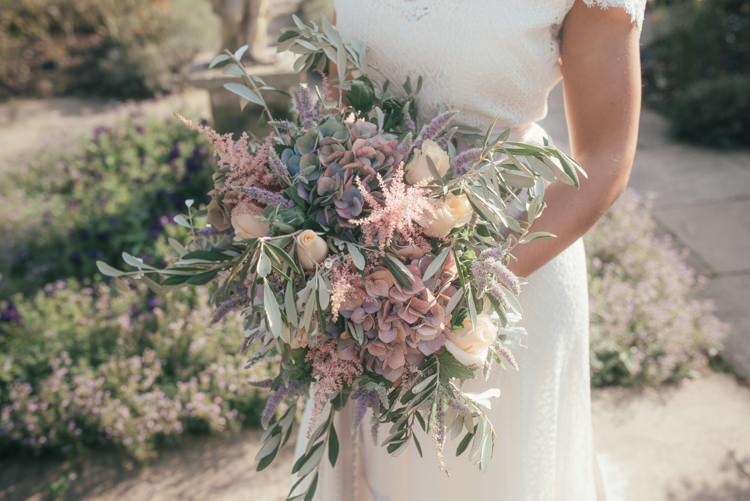Hydrangea Bouquet Lilac Foliage Flowers Bride Bridal Ribbons Fine Art Boho Luxe Garden Wedding Ideas http://www.lucygphotography.co.uk/
